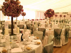 Asian Wedding Venue Decoration Flowers, Table Linen, Chair Covers